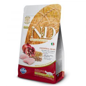 乾糧 法米納 Farmina N&D 天然低穀低敏成貓糧-雞肉 + 石榴(結紮貓適用)1.5KG 寵物用品店推薦