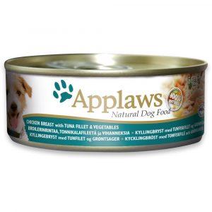 狗用糧食 愛普士 APPLAWS 全天然狗罐頭 – 雞柳 + 蔬菜 + 吞拿魚 156g 寵物用品店推薦