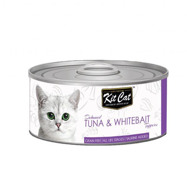 罐頭食品 Kit Cat 無穀物 吞拿魚+銀魚Toppers+Taurine 貓罐頭 80g 寵物用品店推薦