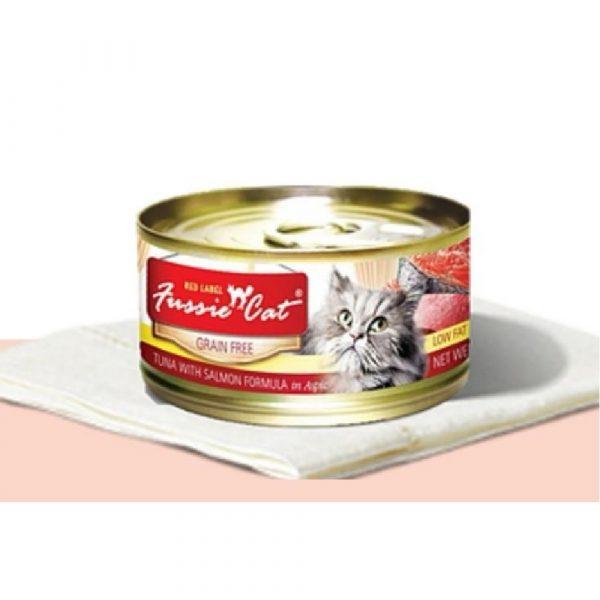 罐頭食品 高竇貓 Fussie Cat Premium Red Label Cat Canned (Tuna with Salmon) 紅鑽貓罐頭(吞拿魚+三文魚)80g 寵物用品店推薦