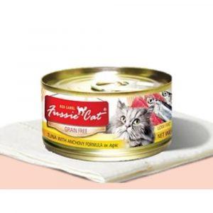 罐頭食品 高竇貓 Fussie Cat Premium Red Label Cat Canned (Tuna with Anchovy) 紅鑽貓罐頭(吞拿魚+鯷魚)80g 寵物用品店推薦