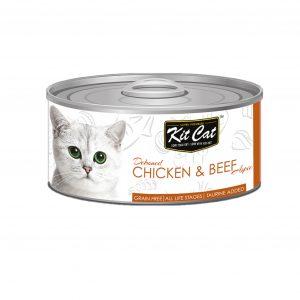 罐頭食品 Kit Cat 無穀物 雞肉+牛肉+Taurine 肉凍貓罐頭 80g 寵物用品店推薦