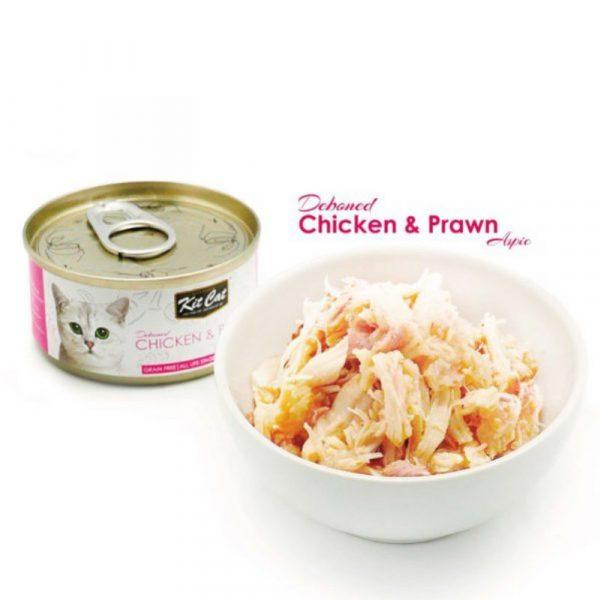 罐頭食品 Kit Cat 無穀物 雞肉+蝦肉+Taurine 肉凍貓罐頭 80g 寵物用品店推薦