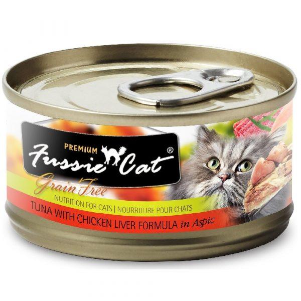 罐頭食品 高竇貓 Fussie Cat Premium Black Label Cat Canned (Tuna with Chicken Liver) 黑鑽貓罐頭(吞拿魚+雞肝)80g 寵物用品店推薦