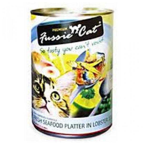 罐頭食品 高竇貓 Fussie Cat Premium Cat Canned (Fresh Seafood Platter in Lobster Jelly) 貓罐頭(龍蝦汁海鮮拼盤)400g 寵物用品店推薦