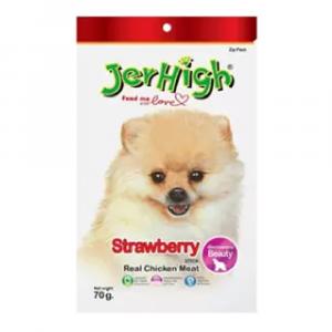 小食 Jerhigh 高蛋白低脂狗小食 士多啤梨雞肉條 70g 寵物用品店推薦