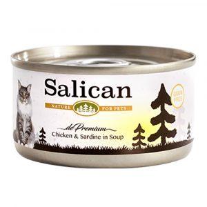 罐頭食品 Salican 鮮雞肉、沙甸魚配方貓罐頭 (清湯) 85g 寵物用品店推薦
